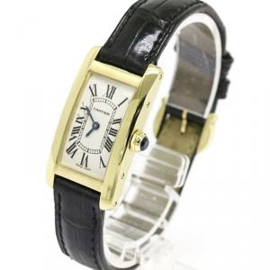 Cartier Silver 18K Yellow Gold Tank Americaine Women's Wristwatch 19MM