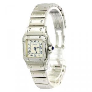Cartier Silver Stainless Steel Santos Women's Wristwatch 24MM