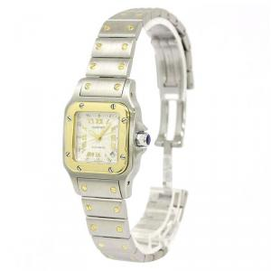 Cartier Silver 18K Yellow Gold and Stainless Steel Santos Galbee Women's Wristwatch 24MM