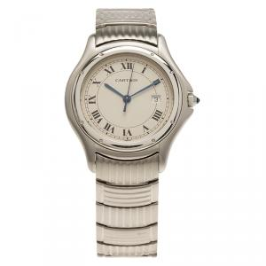 Cartier Cream Stainless Steel Cougar 987904 Mens Wristwatch 33 MM