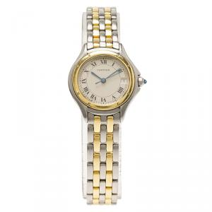 Cartier Cream 18K Yellow Gold and Stainless Steel Cougar 187906 Women's Wristwatch 26MM