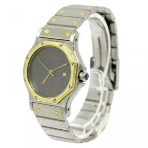 Cartier Grey 18K Yellow Gold and Stainless Steel Santos Octagon Women's Wristwatch 29MM