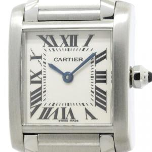 Cartier White Stainless Steel Tank Francaise Women's Wristwatch 20MM