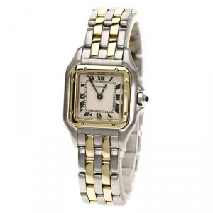 Cartier White 18K Yellow Gold and Stainless Steel Panthere Women's Wristwatch 22MM