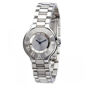 Cartier Silver Stainless Steel Must 21 Women's Wristwatch 28MM