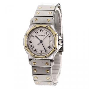 Cartier White 18K Yellow Gold and Stainless Steel Santos Octagon Women's Wristwatch 30MM