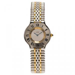 Cartier Silver Stainless Steel Must 21 Women's Wristwatch 31MM