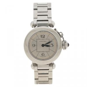 Cartier Silver Stainless Steel Miss Pasha de Cartier 2973 Women's Wristwatch 27MM