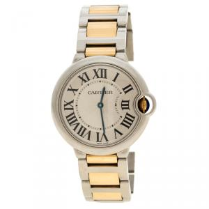 Cartier Silver Stainless Steel & 18K Yellow Gold Ballon Bleu  3005 Women's Wristwatch 38MM