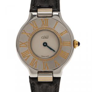 Cartier Silver Yellow Gold and Stainless Steel Must 21 de Cartier Women's Wristwatch 28MM