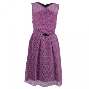 Carven Pink Tricot Perforated Mesh Overlap Detail Sleeveless Dress M