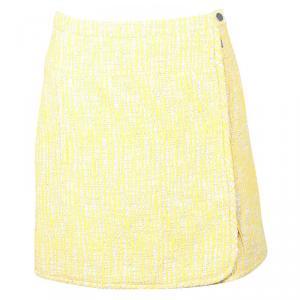 تنورة كارفن تريكو تويد أصفر بسحاب مزين M