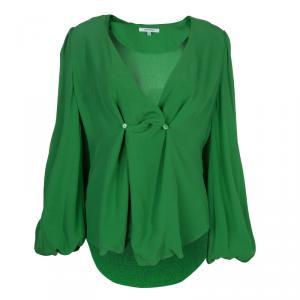 Carven Green Overlap Detail Long Sleeve Blouse M