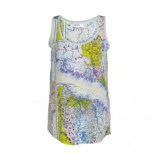 Carven Multicolor Map Printed Silk Sleeveless Top M