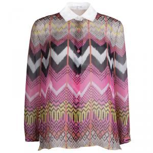 Carven Multicolor Silk Button Down Long Sleeve Shirt L