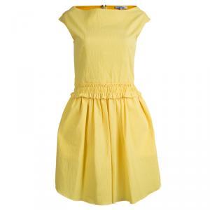 Carven Yellow Textured Cotton Sleeveless Dress L