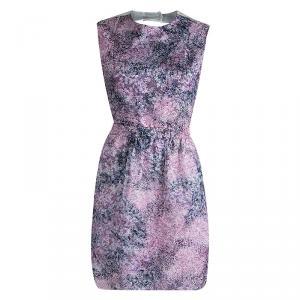 فستان كارفن أورغانزا مطبوع مورد متعدد الألوان ظهر مكشوف M
