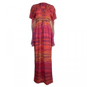 Catherine Malandrino Multicolor Printed Silk Studded Maxi Dress P/XS