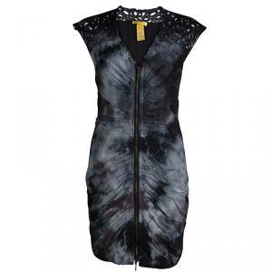 Catherine Malandrino Monochrome Tie-Dyed Cotton Ruched Sleeveless Double Zipper Dress S