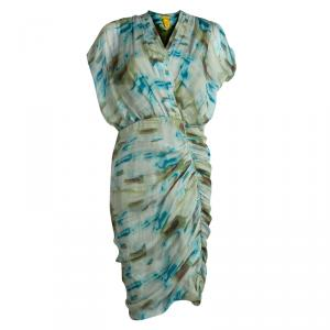 Catherine Malandrino Multicolor Printed Silk Ruched Dress M