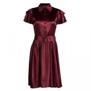 Catherine Malandrino Maroon Silk Belted Shirt Dress S
