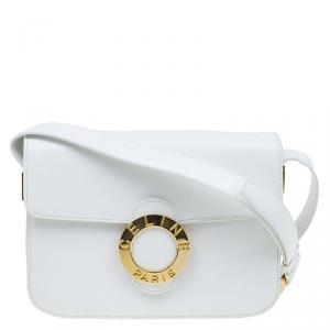 Celine White Leather Vintage Shoulder Bag