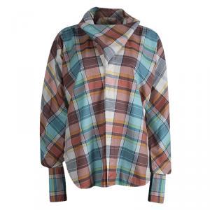 Celine Checkered Flap Detail Button Down Cotton Shirt M