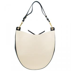 Celine Beige/Black Smooth Calfskin Leather Medium Seashell Hobo