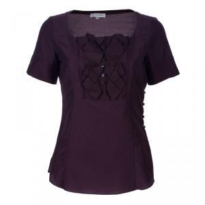 Celine Burgundy Short Sleeve Top S