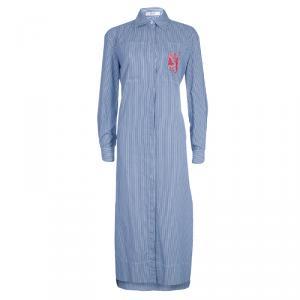 Celine Blue Striped Cotton Maxi Shirt Dress S