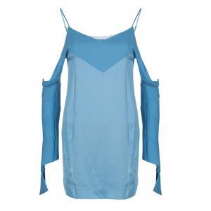 Celine Blue Cut-Out Long Sleeve Silk Top S