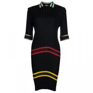 Celine Black Ribbed Midi Dress L