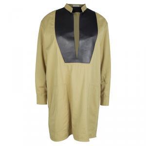 Celine Khaki Leather Yoke Detail Long Sleeve Oversized Tunic M