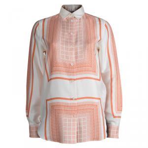 Celine Beige Printed Silk Long Sleeve Button Front Shirt S
