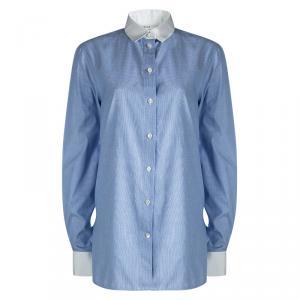 Celine Blue Pinchecked Contrast Trim Button Front Cotton Shirt L