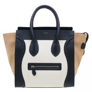 Celine Tri-Color Leather Mini Luggage Tote
