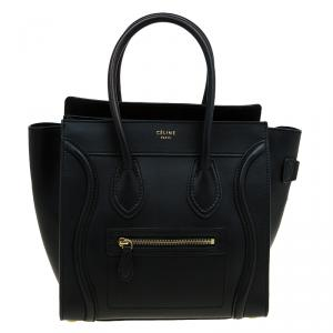 Celine Black Smooth Leather Micro Luggage Tote
