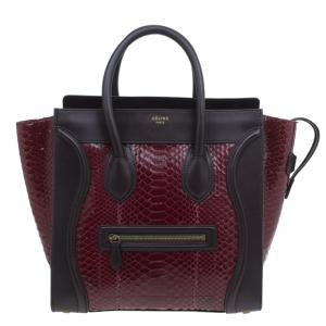 Celine Burgundy Python and Leather Mini Luggage Tote