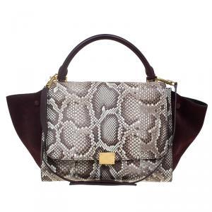 Celine Brown Python and Suede Medium Trapeze Bag