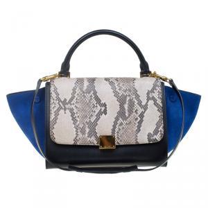 Celine Tri Color Python and Suede Small Trapeze Bag