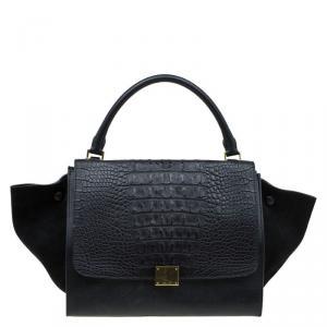 Celine Black Hornback Croc Leather Small Trapeze Top Handle Bag