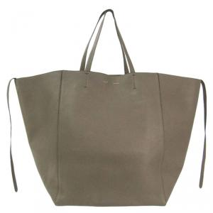 Celine Taupe Calfskin Leather Large Cabas Phantom Tote