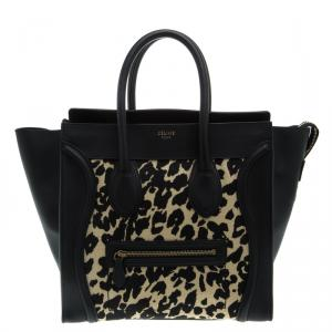 Celine Black Leopard Print Canvas and Leather Mini Luggage Tote