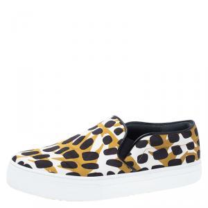 Celine Brown Leopard Print Satin Slip On Sneakers Size 36