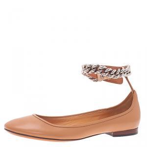 Celine Beige Leather Chain Ankle Strap Ballet Flats Size 38