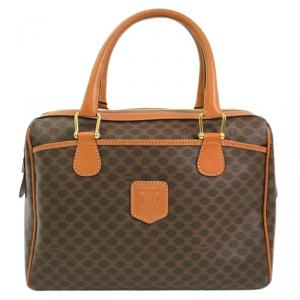 Celine Brown Macadam Pattern PVC/Leather Italy Travel Bag