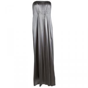 CH Carolina Herrera Silver Silk Strapless Gown M