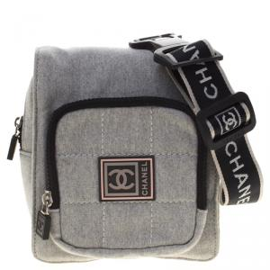Chanel Grey Cotton Blend CC Logo Sport Waist Bag