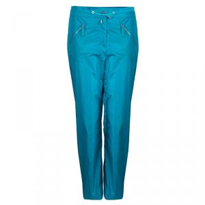 Chanel Turquoise Blue Nylon Zip Detail Trackpants M