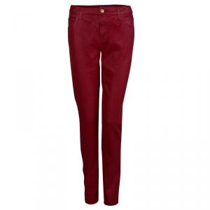 Chanel Red Metallic Finish Jeans L